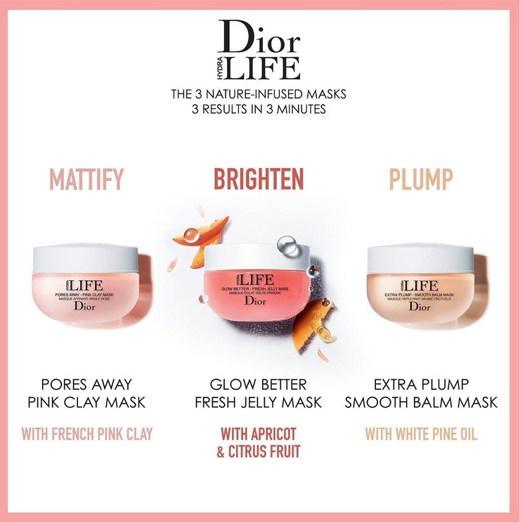 Veido kaukė Christian Dior Hydra Life Pores Away Pink Clay Mask, 50 ml