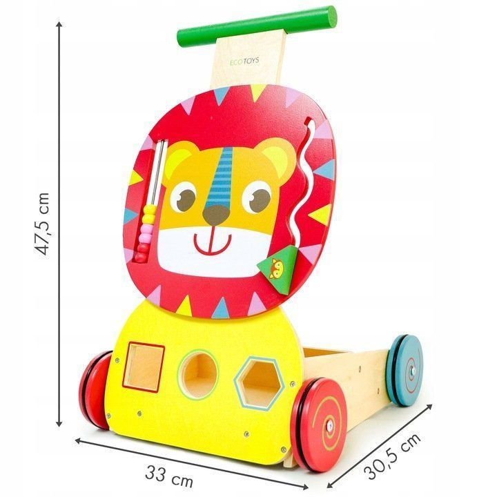 Ecotoys Wooden Pusher Educational Trolley Sorter