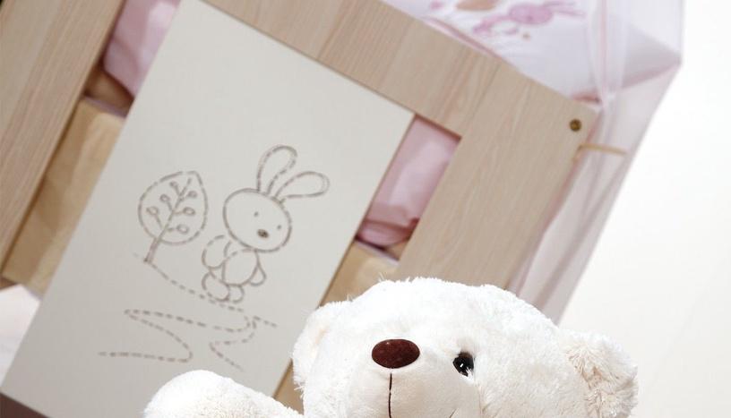 Vaikiška lova Klups Safari Rabbit White/Natural, 120x60 cm