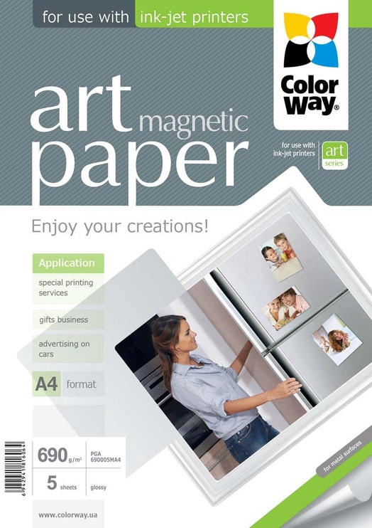 ColorWay Photo Paper A4 690 ART Glossy Magnetic 5 Pages