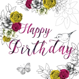 Clear Creations Pink & Yellow Roses Birthday Card CL1401