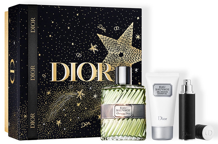 Komplekts vīriešiem Christian Dior Eau Sauvage 100 ml EDT + 50 ml Shower Gel + 10 ml Refillable Spray