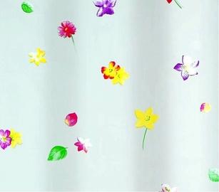 Vannas istabas aizkars Spirella Aloha, balta/dzeltena/rozā, 2000 mm x 1800 mm