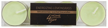 Home4you Teacandles 4pcs Energizing Lemongrass