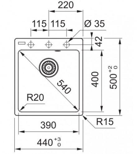 Раковина Franke 114.0627.652, 440 мм x 500 мм x 200 мм