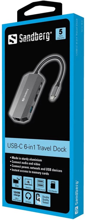 Sandberg USB-C 6-in-1 Travel Dock
