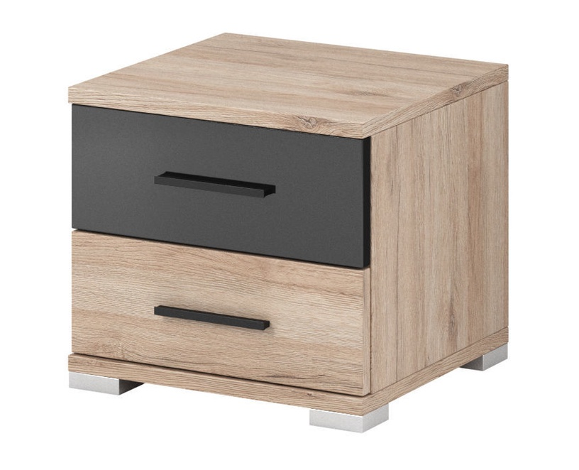 Ночной столик Idzczak Meble LBari 22 San Remo Oak/Black Gloss
