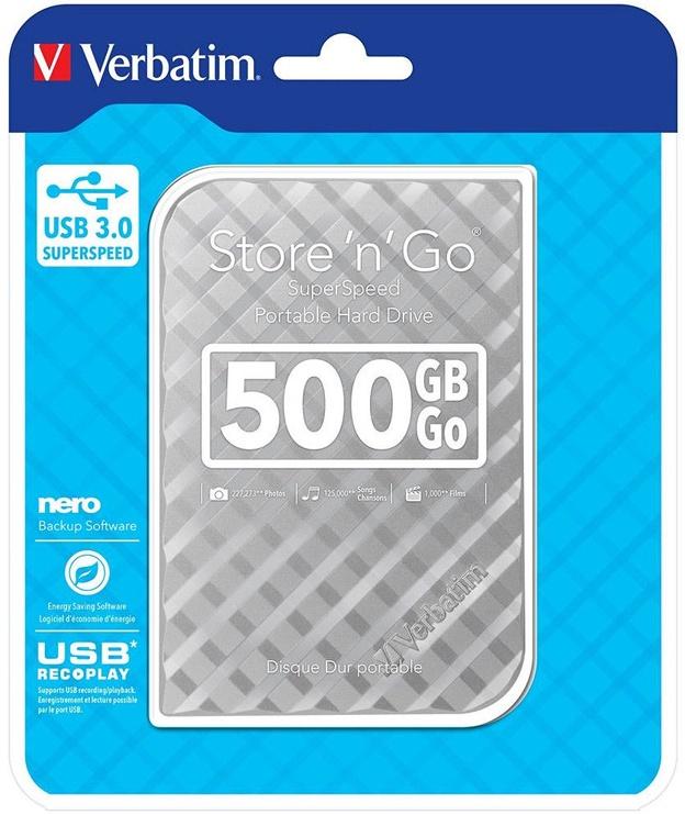 Verbatim 500GB 2.5'' Store'n'Go GEN 2 USB 3.0 Silver