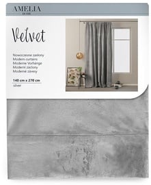 AmeliaHome Velvet Pleat Curtains Silver 140x270cm