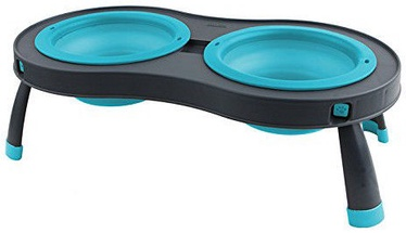 Dexas Double Elevated Pet Feeder Blue