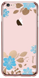 X-Fitted Blue Flower Swarovski Crystals Back Case For Apple iPhone 6/6s Pink
