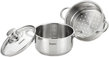 Fissman Pot Bambino Stainless Steel 14x7.0cm With Steamer Insert/Glass Lid 1.1L 5275