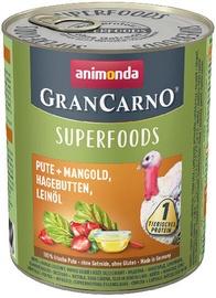 Animonda GranCarno Superfoods Dog Wet Food With Turkey 800g