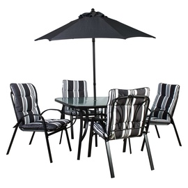 Home4you Quatro Garden Furniture Set w/ Parasol Black/White