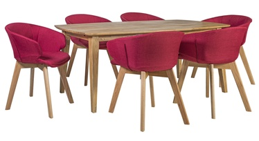 Home4you Retro/Harding Dining Set Red/Oak
