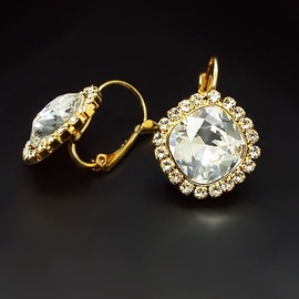 Diamond Sky Earrings Glare III Transparent With Swarovski Crystals