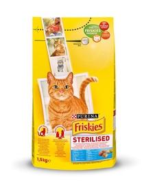 Sausas ėdalas sterilizuotoms katėms Friskies, su lašiša ir daržovėmis, 1.5 kg