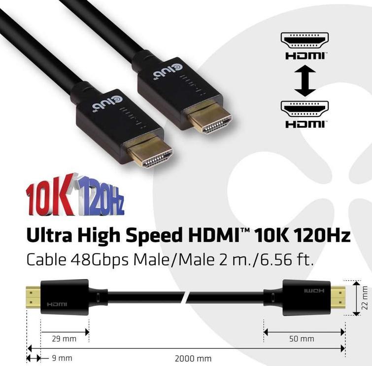 Club 3D Ultra High Speed HDMI™ Cable 10K 120Hz 2m Black