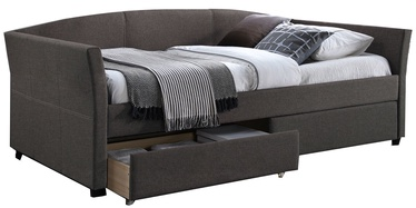 Gulta Home4you Genesis K288612, pelēka, 220x98 cm, ar matraci, ar režģi