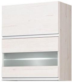 Bodzio Monia Upper Divided Cabinet With Glass 60 Pearl Soma Oak