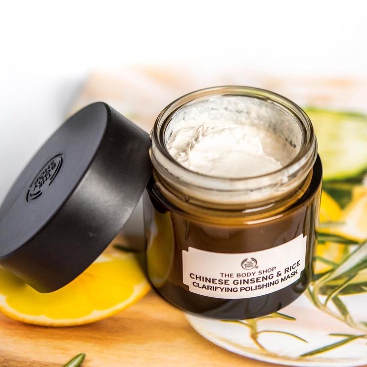 Veido kaukė The Body Shop Chinese Ginseng & Rice Clarifying Polishing Mask, 75 ml