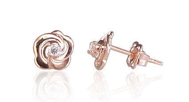 Diamond Sky 14K Red Gold Earrings Golden Rose II Solid Gold 585