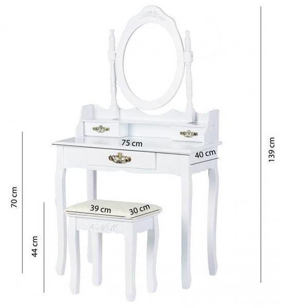 GoodHome Dressing Table w/ Mirror 3238 White