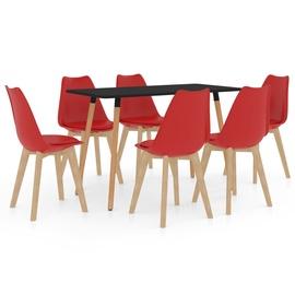 Обеденный комплект VLX 7 Piece Set 3056012, черный/красный