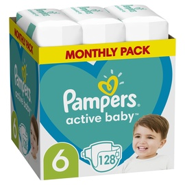 Подгузники Pampers Active Baby, 6, 128 шт.