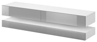 TV galds Vivaldi Meble Fly, balta/pelēka, 1400x338x350 mm