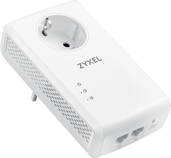 ZyXEL PLA5456 2000 Mbps HomePlug AV2 Powerline Pass-Thru 2-Port Gigabit Ethernet Adapter