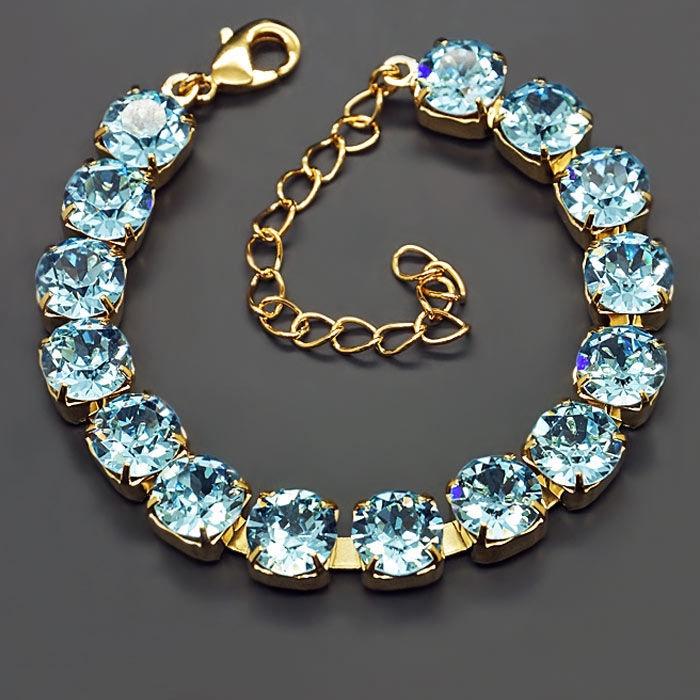 Diamond Sky Bracelet Classic Aquamarine Blue With Swarovski Crystals