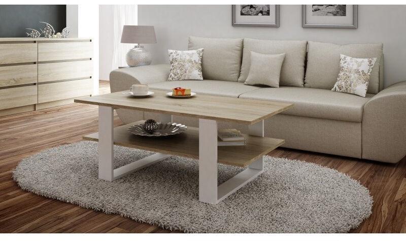 Kavos staliukas Top E Shop Martyna, baltas/ąžuolo, 1200x600x550 mm