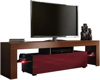 TV staliukas Pro Meble Milano 160 With Light Walnut/Red, 1600x350x450 mm