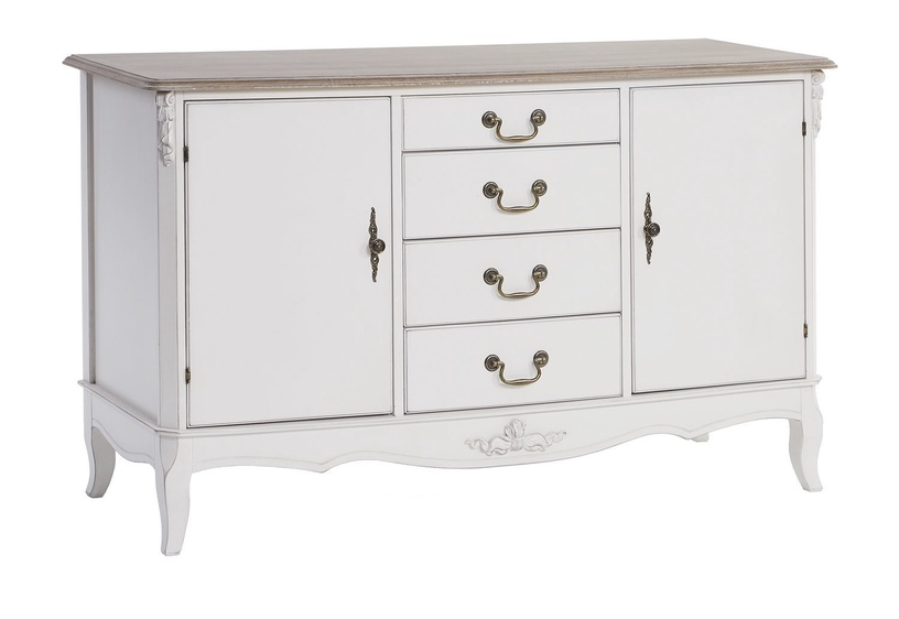 Home4you Elizabeth Chest Of Drawers 142x49x84cm White/Brown