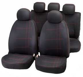 Bottari Embroidery Seat Cover Set Black Red
