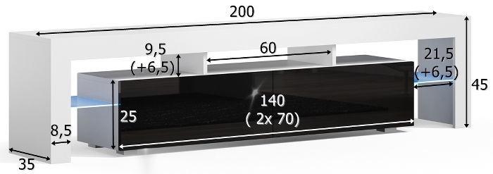 Pro Meble Milano 200  With Light Walnut/Black