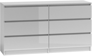 Top E Shop Malwa M6 Chest of 6 Drawers 140cm Gloss White