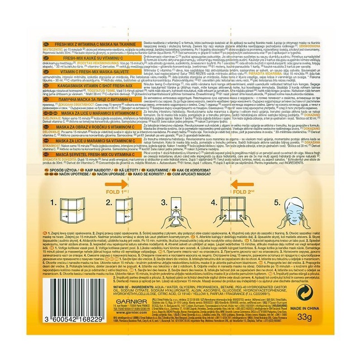 Veido kaukė Garnier Skin Naturals Vitamin C Shot Fresh Mix Tissue Mask, 1 vnt.