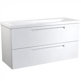 Apatinė spintelė su praustuvu 101 cm, 2 stalčiai, matinė balta
