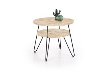 Kavos staliukas Ezra 2 ąžuolo spalvos/juodas, 60 x 60 x 52 cm