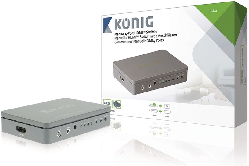Konig 4-Port HDMI Splitter Dark Grey KNVSW3404
