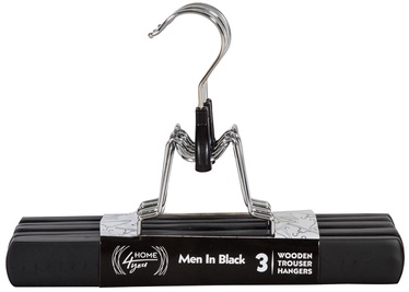 Home4you Men In Black Pants Hangers 3pcs Black