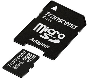 Transcend 8GB Micro SDHC Class 4 + Adapter