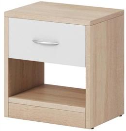 Naktinis staliukas WIPMEB Naka 1S, baltas/ąžuolo, 39x28x41 cm