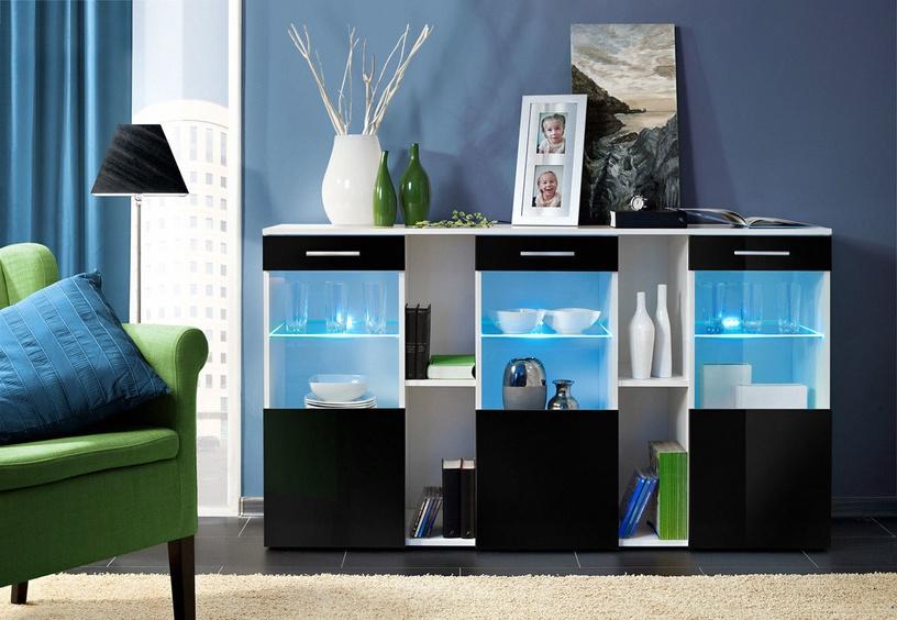 Kummut ASM Dorade White/Black Gloss, 160x40x92 cm
