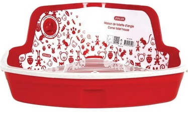 Zolux Corner Hooded Litter Tray For Rodents Red