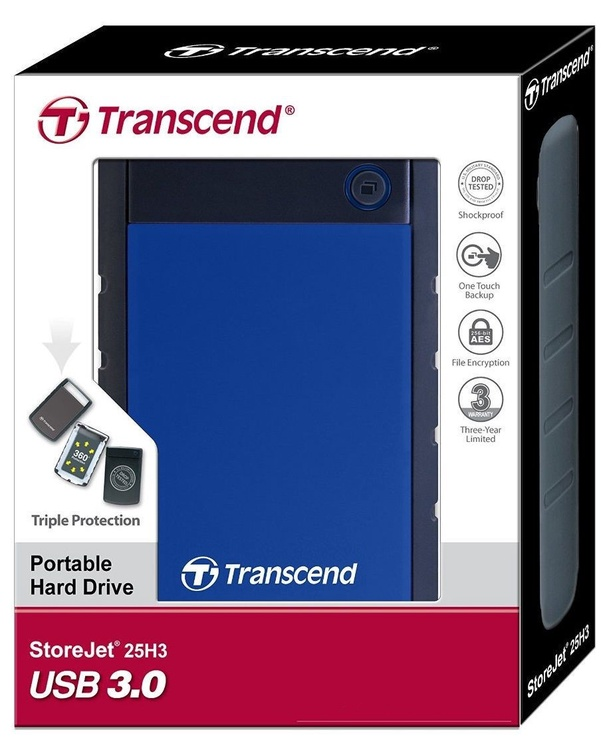 Жесткий диск Transcend TS1TSJ25H3B, HDD, 1 TB, синий/черный/фиолетовый