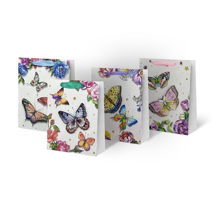 Подарочный пакет Paper Gift Bag With Butterflies 31x12x40cm SCW308-ABCD-L