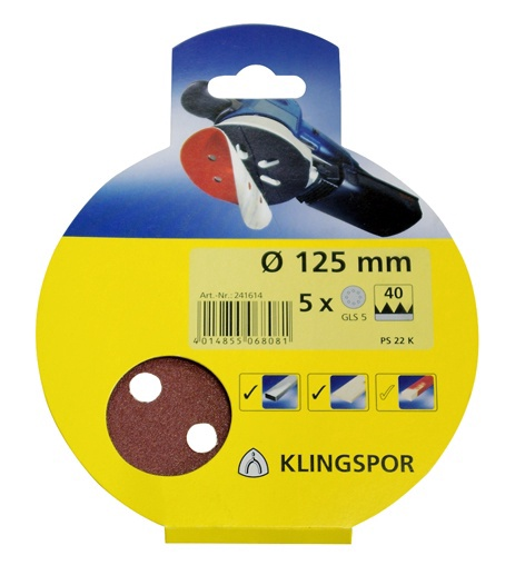 Šlifavimo diskas Klingspor PS22K, G80, Ø125 mm, 8 skylės, 5 vnt.